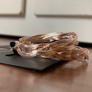 New York & Co braided gold hoop earrings